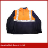 Safety Orange Blue Working Fleece Jacket with Reflective Band for Winter (W62)