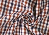 Brown/Navy Check Twill 60 Cotton 40 Polyester Fabric Shirting