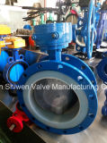 PTFE Seat Double Flanged Butterfly Valve with Gear Actuator