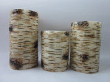 Set of Three Birch Battery Operated Pillar Candle 3""