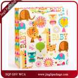 Glitter Baby Gift Paper Bag Glossy Lamination Bags with Glitter and Hang Tag