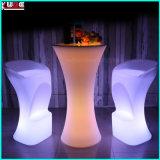 Illuminated Outdoor Bar Stool and Table