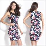 2016 Newest Fashion Design Flower Printing Women Dress for Summer