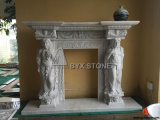 China White Marble Fireplace with Lady Carving for Indoor Decoraction