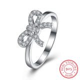 925 Sterling Silver Bowknot with Zircon Fashion Ring Jewelry