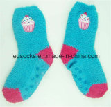 Embroidery Logo Microfiber Socks with Anti-Slip Dots