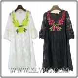 European Fashion Women Embroider Lace Dress