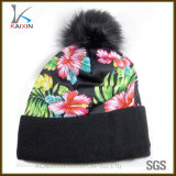 Custom Polyester Printing Knitted Beanie Hat with Top Ball