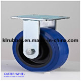 3-8inch Blue Elastic Rubber Fixed Caster Wheel