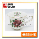 Bd023 Bone China Coffee Cup with Gloden Thread
