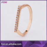 Rose Gold Plated Pave CZ Diamond Alphabet Letter I Initial Ring