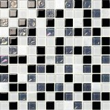 Black and Grey and White Glass Crystal Mosaic Glossy Wall Tiles