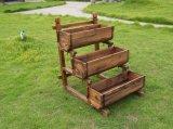 Chair Shaped Burnt Wooden Outdoor Garden Furniture Flower Pot