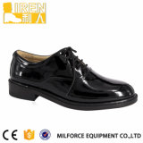 Black Shiny Leather Safety Shoes for Security Company Guards
