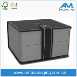 Cube Shaped Leather Like Black Luxury Watch Box Magnet Close with EVA Insert