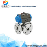 Pneumatic Flange Three Way Ball Valve