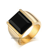 Fashion 18k Gold Plated Stainless Steel Single Black Stone Ring Designs for Men