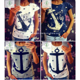 Factory Direct Fashion Short Sleeved Anchor Cotton Shirt T-Shirt Women