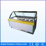 Curved Glass Door Europe Style Ice Cream Display Showcase Freezer