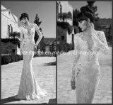 Long Sleeves Bridal Gown V-Neckline Sequins Mermaid Wedding Dress Yao103003