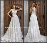 Sheer Bodice Wedding Ball Gown Lace Sleeveless Bridal Wedding Dress L15318