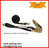 "Ratchet Strap W/ Wire Hooks 1"" X 8′ Black Thumb"