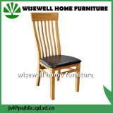 Oak and Cream Leather Seat Medium Slat Chair