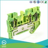 Utl Mounted Terminal Block Yellow Green Earth DIN Rail Terminal Block 4poles Two in Two out