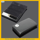 Promotion OEM Brand for Company Black Leather Business Cardholder Stainless Steel Metal Badge Business Card Holder