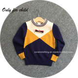 Pullover Color Blocking Sweater Chidren Clothes with Little Nice Bow