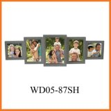 Grey 5 Opening Wooden Wall Collage Picture Frame, Best Gift (WD05-87SH)