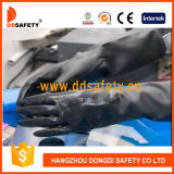 Ddsafety 2017 Black Latex Embossed Grip and Rolled Cuff Work Gloves