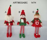 "14""H Santa Snowman Elf Sitter-3asst-Christmas Decoration"
