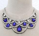 Lady Fashion Jewelry Blue Waterdrop Glass Crystal Collar Necklace (JE0196)