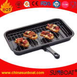Enamel BBQ Cooking Grill Pan with Rack and Detachable Handle