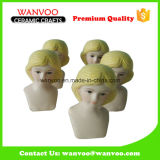 Unique Hand Made Ceramic Doll Head Statue for Holiday Decoration