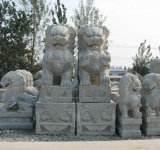 Hand Carved Granite Lion Sculpture Animal Statue for Decoration (CV005)
