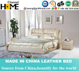 Luxury Bedroom Furniture Genuine Leather Bed with Bedside Table (HC227)