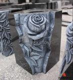 Black Granite Monument Flower Carving Vase for Gravestone
