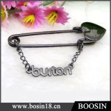 Shiny Black Custom Personalized Name Metal Brooch #5843