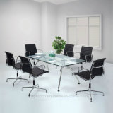 Glass Office Table and Steel Leather Chair Furniture Set (SP-CT572)