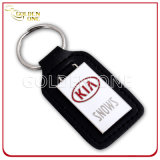 Promotion Gift Hard Emanel Leather Key Chain with Silvery Stamp