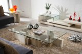 Novel Model Travertine Coffee Table with Glass Top (TC-036)