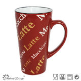 15oz Special V Shape Glaze with Silk Screen Water Cup