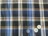 Blue/Black Checks Yarn Dyed Polyester Cotton Fabric