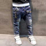Popular Children′s Denim Trousers Kids Dark Blue Designed Jeans