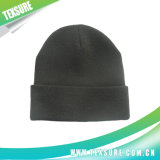 Black Color Acrylic Knitted Winter Reversible Hat Beanies (036)