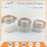 Clip Lid Clear Glass Candy Jar