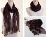 Lady Fashion Polyester Chiffon Silk Scarf with Dots Printing (YKY1003)