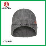 Winter Knit Flannel Grey Beanie Hats (CPA-1130)